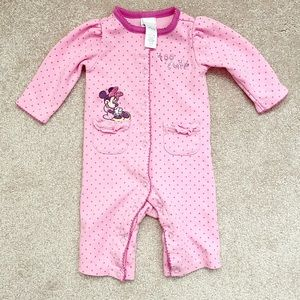 Pink polka dot ruffled Minnie Mouse coveralls
